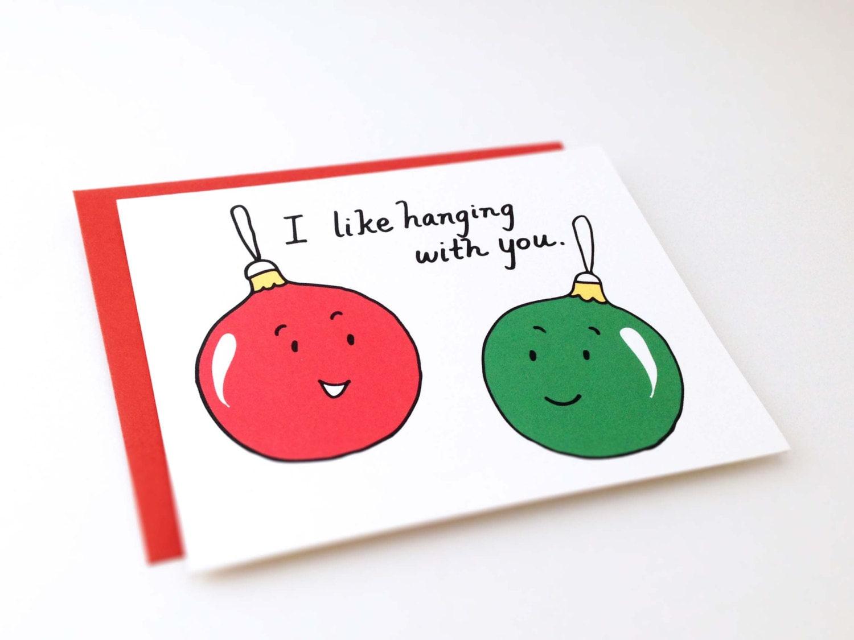 cute best friend christmas card  punnyeuclidstreetshop