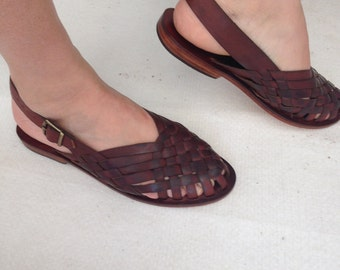 AEGINA: Woven Leather Buckle Sling Back Mule Handmade leather sandal custom size available