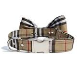 Tan Plaid Dog Bow Tie Collar- Adjustable Collar