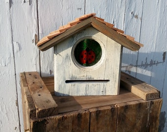 Primitive Folk Art Cedar Ladybug House Lady Bug Habitat