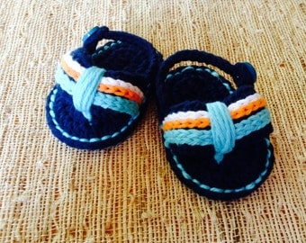 Crocheted baby flip flops, baby sandals, baby shoes, baby gift