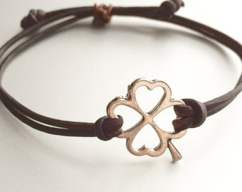 Four Leaf Clover adjustable leather bracelet