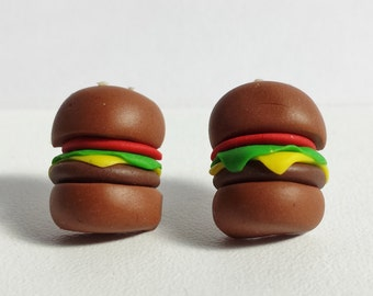Handmade Burger Stud Earrings