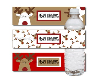 Merry Christmas Reindeer Water Bottle Labels in Red White & Golden Brown - DIY Printable Water Bottle Stickers, INSTANT DOWNLOAD