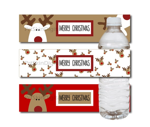 Merry Christmas Reindeer Water Bottle Labels In Red White