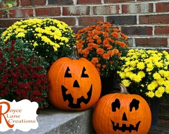 Pumpkin Decal Faces- 8 Sets of Mix and Match Pumpkin Faces Halloween Decal