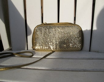 Vintage Gold Metal Mesh Whiting & Davis Style Crossbody/Clutch/Wallet