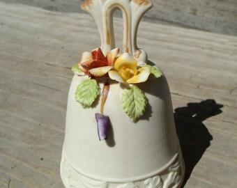 Vintage Capodimonte Porcelain Bell w/ Roses