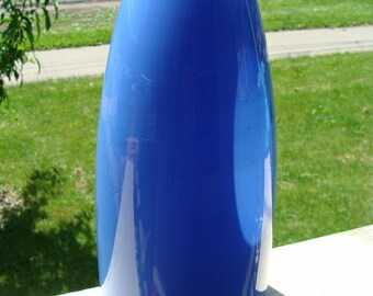 Italian Murano Hand blown Cased Art Glass Vase Blue Clear Perfect Sommerso Venetian Piece