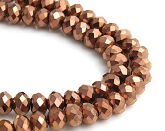 6mm Bronze Opaque Crystal glass Rondelle  Faceted Beads - about 45pcs (C6017- FikaSupplies)