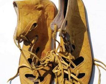 Turkish Yemeni Organic Hand Made Genuine Leather Shoes yellow