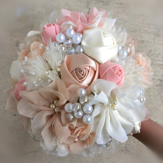Romantic Fabric Flower Bouquet With Pearls Ivory Peach