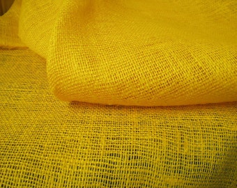 """Yellow Linen Burlap Fabric Decorator - Medium weight - 39"""" W - ECO-friendly - Sold By The Yard"""