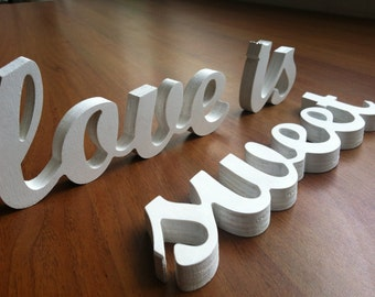 "Wedding decoration ""LOVE IS SWEET"" wooden letters, wood sign for sweetheart table, wedding sign"