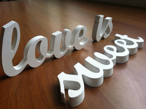 Wedding decoration love is sweet wooden letters for Decoration 5 letters