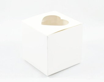 WHITE PAPER BOX (Set of 5 Boxes) - 300gsm White Heart Box  (7.5cm x 7.5cm x 7.5cm)
