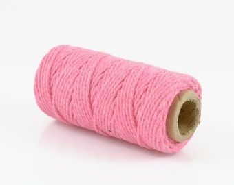 PINK BAKERS TWINE - Pink Twisted Cotton String / Bakers Twine (20 meter spool)