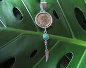 Buffalo Nickel, Natural Turquoise & Sterling Silver Pendant.