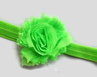 Neon Green Headband - FOE Neon Headband - Neon Green Shabby Flower Hair Accessory - Neon Green Flower Headband - Boutique Headband -