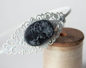 White Antique Metal Filigree Headband with Black/Gray Victorian Woman Cameo