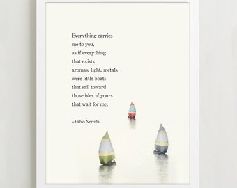 """Pablo Neruda """"If You Forget Me"""" - Love Poetry Art Print - Typographic Print - Wall Decor"""