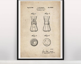 Chemex Coffee Maker Drawing. Cafe Art. US Patent Wall Art. Poster a4 a3 a2. Art Print