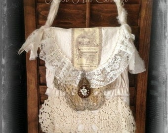 French Chic Tote, Sojourner Bag, Vintage Laces OOAK