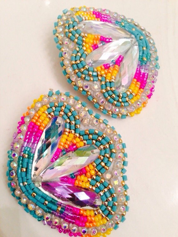 Native American Beaded Earrings Blossom Set