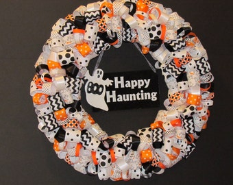 Happy Haunting Halloween Ribbon Wreath