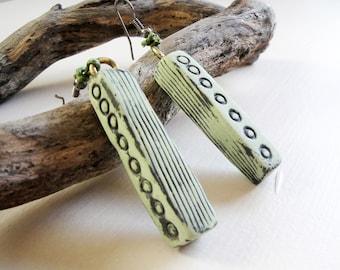 Dangle earrings in pastel Fig Green. Handmade Modern Minimal Geometric Artisan Polymer Clay. Length 5cm