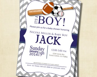 Gray and Blue Chevron Sports Theme Baby Shower Invitation, printable, digital file, DIY, Baseball, Football, Soccer, GSboy