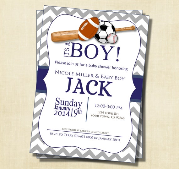 gray and blue chevron sports theme baby shower invitation printable