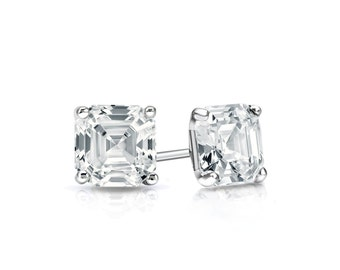 14k Gold 4-Prong Martini Asscher Cut Diamond Stud Earrings 0.50 ct. tw. (H-I, I1)