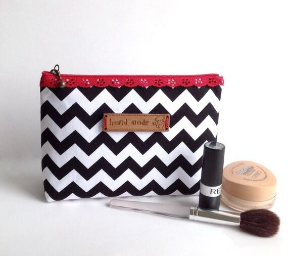 Zipper Pouch. Cosmetic Bag. Black Chevron Bag. Zipper Purse.