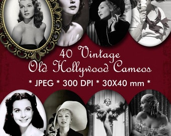 INSTANT DOWNLOAD 40 Vintage Digital Cameos 30x40 mm - Old Hollywood Beauties - for Jewelry, Scrapbooking and Crafts