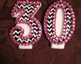 Blinged out Chevron Birthday Candle