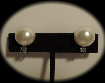 1960s Crown Trifari Faux Pearl and Rhinestone Clip Earrings