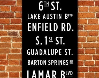Austin Texas Subway Sign - Canvas Print - List of popular street names around Austin - Customizable