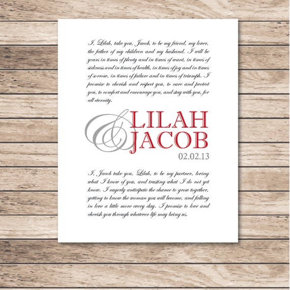 Wedding Vow Artwork: Personalized Wedding Vows Print. Wedding Vow By