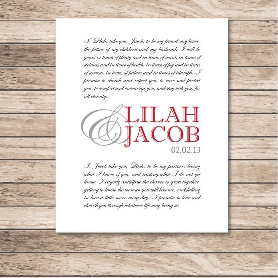 Wedding Vow Promises: Personalized Wedding Vows Print. Wedding Vow By