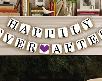 Happily Ever After Banner - Wedding Banners - Wedding Photo Prop - Wedding Sign - Reception Garland