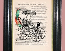 Horseless Carriage with a Green Tropical Bird - Dictionary Page Art Print - Beautiufl Upcycled Page Art - Wall Decor - Art Print