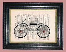 Black Wheel Horseless Carriage - Printed on Dictionary Page, Mixed Media Collage Art