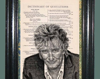 Rod Stewart Folk Singer - Vintage Dictionary Page Art Print Upcycled Book Page Art Collage Art Print