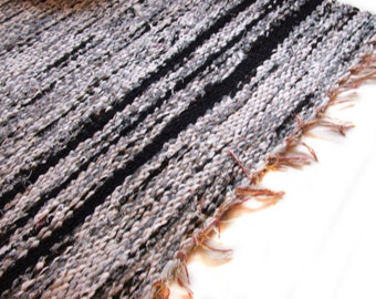 "white black rag rug color hand woven 60""x25.5"""