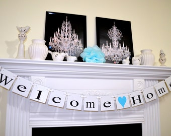 Welcome Home Banner Garland/ military welcome home banner - baby homecoming banner - Welcome Home