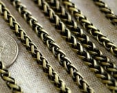 4.5mm Antique Bronze Plated Vintage Style Wheat Chain Rope Chain for Necklace rc247b(4ft)