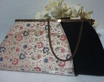 Vintage Reversible Handbag by Edward's Bags. Tapestry, Black Velvet. 1950's