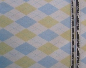 "Blue and Yellow Argyle, 27"", Easter Fabric, Boy Easter Fabric, Pastel Fabric, Jackie Clark for Benartex"