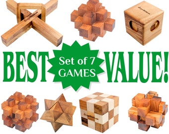 Set of 7 Wooden Games and Puzzles